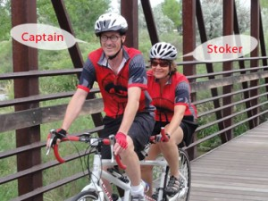 photo of a captain and a stoker on a bike